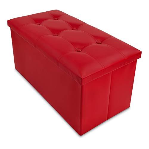 Grinscard Große Sitzbank mit Gepolstertem Deckel & Staufach - ca. 76 x 38 x 35 cm, Rot - Faltbare Sitztruhe zur Aufbewahrung