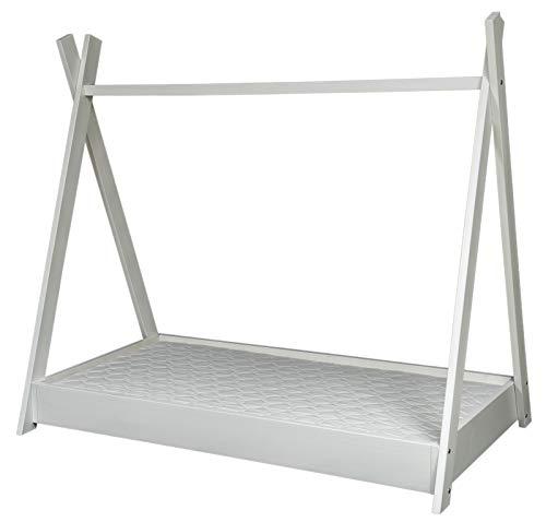 completo letto tenda tipi+materasso stile scandinavo bambino cameretta 160x80cm (colore: bianco)