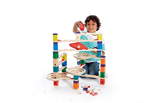 Hape Quadrilla Wooden Marble Run Builder-Vertigo-High Quality Wooden Safe Play-Smart play for Smart Family-Quality Time Playing Together, Building toys for kids, list of building toys, construction toys, STEM toys for babies, STEM toys for toddlers, STEM toys for pre-schoolers