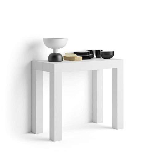 Mobili Fiver, Tavolo Consolle Allungabile First, Bianco Frassino, 90 x 45 x 76 cm,...