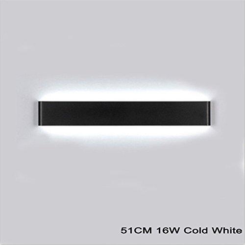 K-Bright LED Spiegelleuchte Bilderleuchte,16W,20 Zoll Schranklampe Wandleuchte aus Aluminum,LED Weiß Spiegellampe,IP44,AC 86-265V,6000-6500K Weiß,Schwarzes Schale