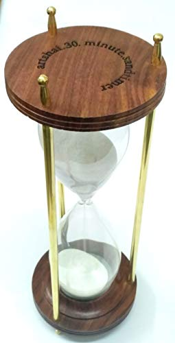 Artshai 30 Minute Hourglass Brass and Wood, Antique Style Sand Timer