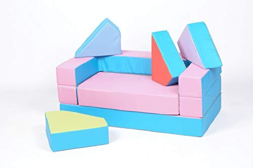 BAMBINI DIVANO LETTO FUTON BAMBINI PUZZLE (PINK-BLUE)