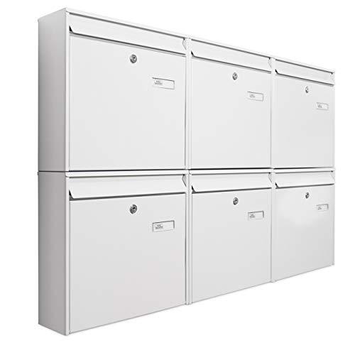 banjado Briefkastenanlage 6 Fach | 109x65x10cm groß Stahl weiß DIN A4 | Briefkasten Set 6 Briefkästen mit Namensschild, 2 Schlüssel, Montagematerial