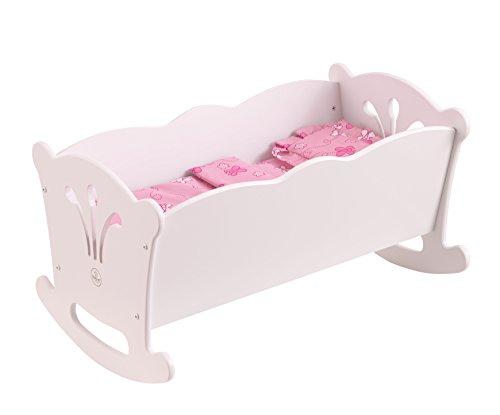 Kidkraft 60101 Lil' Doll Cradle - Culla Bianca in Legno, con Biancheria, per Bambole da 45 Cm