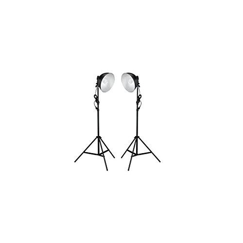 Set per Studio Fotografico 2x Lampada con Testa Rotonda + Treppiedi