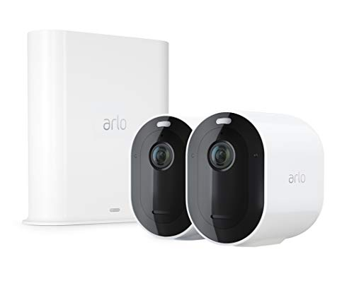 Arlo Pro 3 VMS4240P Sistema di Videosorveglianza WiFi con 2 Telecamere Arlo 2K HDR, Audio 2 Vie, Visione Notturna a Colori, Faro e Sirena Integrati, Visione 160°, Interno/Esterno, Nero