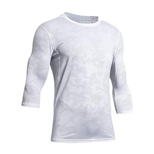 Lazzboy Uomo T-Shirt Fitness Elastico ad Asciugatura Rapida Tinta Unita Sport Allenamento...