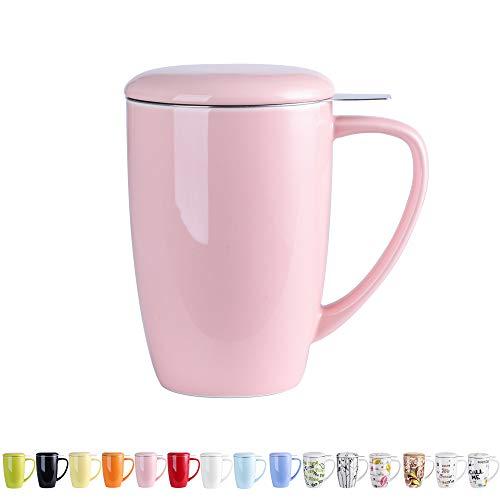 LOVECASA Tazza da tè con Infusore Acciaio Inox in Ceramica Porcellana, Filtri e Colini da tè, Filtro Infusori per tè, Set da tè caffè Mugs per Una Persona, 450ml, Rosa