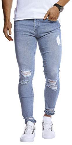 Leif Nelson Herren Jeans Hose Slim Fit Denim Blaue graue Lange Jeanshose für Männer Coole Jungen weiße Stretch Freizeithose Schwarze Cargo Chino Sommer Winter Basic LN9145 Hell Blau W32/L32