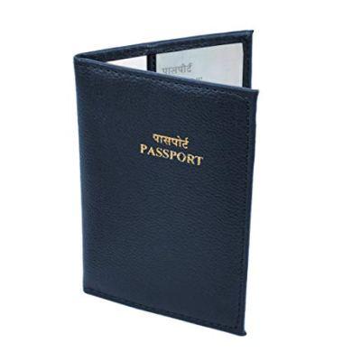Storite PU Leather Slim Passport Case, Passport Cover - Blue 25
