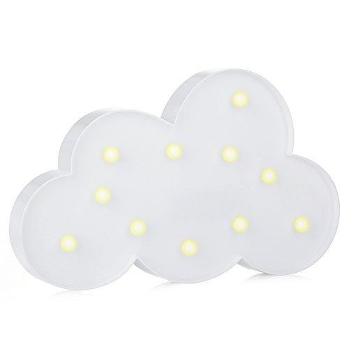 LED Nacht Licht Nacht Tisch Lampe – ZWOOS Warmweiße LED Deko Batterien Betrieben (Nicht im Lieferumfang Enthalten) Dekolampe für Wohnzimmer und Küche(Wolke)