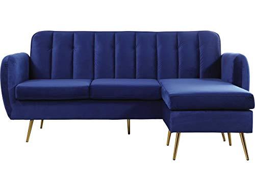 Habitat & Jardin Divano ad Angolo Reversibile Leonard in Velluto - 202 x 80/138 x 92 cm - 3 posti a Sedere - Blu Scuro