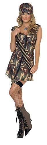 Smiffy's Smiffys-33829M Disfraz de Chica del ejército, con Vestido y Gorra Color Camuflaje M - EU Tamaño 40-42 33829M