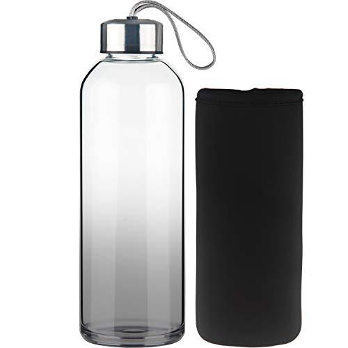 FCSDETAIL Sport Trinkflasche Glas Wasserflasche mit Neopren-Hülle 1000 ml