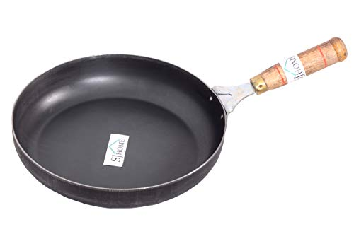 SJ Home Iron Fry Pan with Wooden Handle, Induction and Gas Stove Compatible for Cooking, Frying, Loha/Lokhand (9 Inch/23 cm)