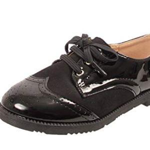 Infant Girls Kids Children Lace Up Smart School Formal Oxford Brogues Shoes Size 31QSn98Ut1L