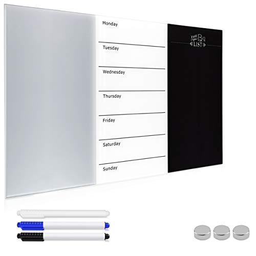 Navaris Lavagna Magnetica in vetro 60x40cm - Lavagna bianca vetro con Planner Settimanale - Bacheca...