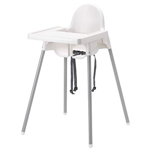 Seggiolone Antilop Ikea bianco in metallo con vassoio e cintura di sicurezza