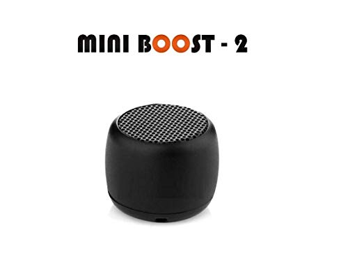 Un-Tech Mini Boost 2 Wireless Speaker, Portable Small Speaker Built-in Mic and Selfie Remote Control, Low Harmonic Distortion for iPhone iPad Android Smartphone(Black)