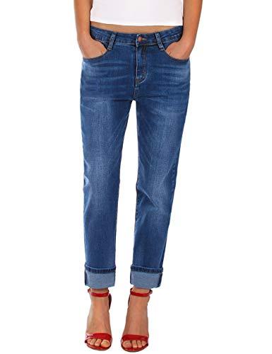Fraternel Damen Jeans Hose Boyfriend Baggy Stretch Relaxed Blau M / 38...