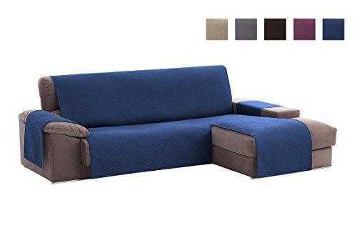 Textilhome - Copridivano Salvadivano Chaise Longe Adele - Color Blu -BRACCIOLO Destro - Protezione...