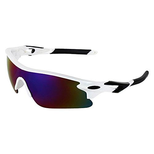 Zyaden White Wraparound Sport Sunglasses 5