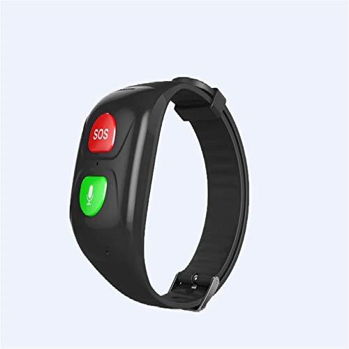 Braccialetti Intelligenti per Anziani SOS Bracciale GPS Smartband Frequenza cardiaca Pressione sanguigna Smart Band Activity Fitness Watch Band ... (Nero)