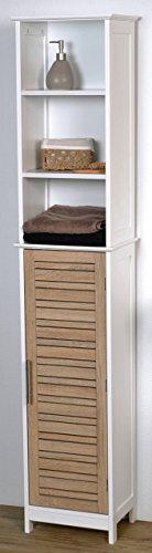 Mueble columna de baño - 3 estanterías y 1 puerta - Diseño Roble envejecido