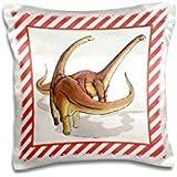 Florene - Childrens Art V - Print of Alamosaurus Dinosaurs On Red Stripes - 16x16 inch Pillow Case