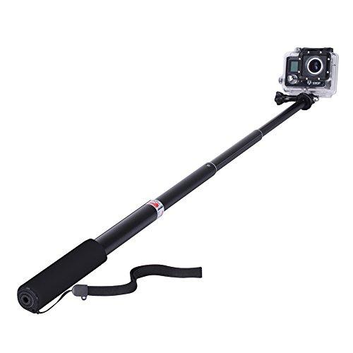 GHB Bastone Selfie per Gopro Asta Selfie Stick Telescopico Palo di Estensione con Monopiede Pole per GoPro Hero 7/5/4/3+/3/2 SJ4000 SJ5000 Sony Action Cam Macchine fotografiche ecc - Nero