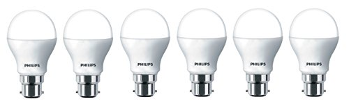 Philips Base B22 9-Watt LED Bulb (Pack of 6, Cool Day Light)