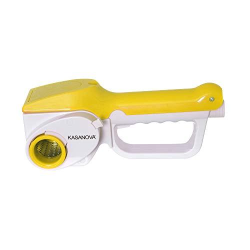 Grattugia elettrica gialla 3 lame da 12 W, in plastica e acciaio