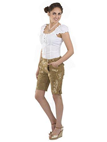 Damen Wiesnzauber Trachtenlederhose - mittellange Trachten Lederhosen - Lederhose Alternative zum Dirndl - sexy Hose Trachtenhose (34, Hellbraun) - 4