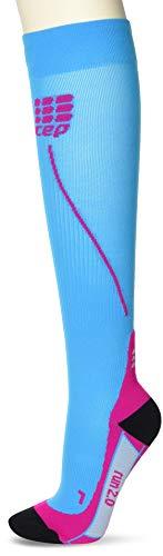 CEP - RUN SOCKS 2.0, Laufsocken lang für Damen, hellblau / pink in Größe III, Kompressionsstrümpfe made by medi