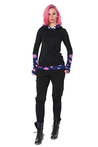 Winter Kapuzenpullover Hoodie Damen schwarz Herbst Kleidung Daumenloch Mode 3 Elfen Kapuzenpulli Frauen schwarz pink Lady XS - 6