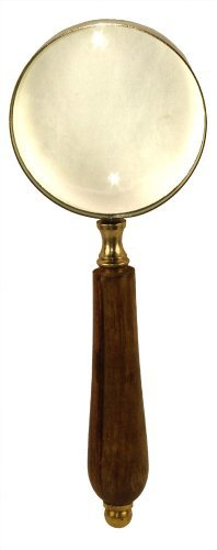 8 Old Fashioned Brass Magnifying Glass: Magnifier With Wood Handle