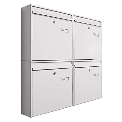 Banjado Briefkastenanlage 4 Fach | 72x64x10cm Stahl weiß DIN A4 | Briefkasten Set mit Namensschild, 2 Schlüssel, Montagematerial