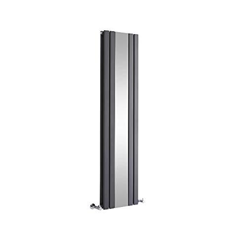 Hudson Reed Sloane - Radiateur Vertical Design avec Miroir - Anthracite - 160 x 38,5cm