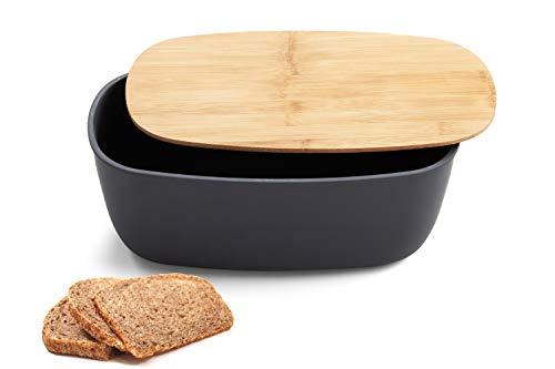 Faircookware Brotkasten aus Bambus - Mit Deckel aus Bambus - 35 x 20 x 13 cm - Brotbehälter - Oval
