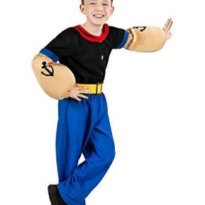 Maskworld Disfraz de Popeye, el Marinero para niños (6 Piezas con Camisa, pantalón, Brazos musculares y Gorro Marinero) - (Tamaño: 134/140)