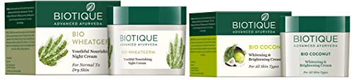 Biotique Bio Wheat Germ FIRMING FACE and BODY NIGHT CREAM For Normal To Dry Skin, 50G and Biotique Bio Coconut Whitening And Brightening Cream, 50g