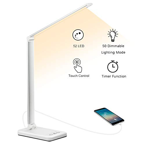 Schreibtischlampe, LED Schreibtischlampe Dimmbar Mit USB, Schwenkbar LED Tischlampe Bürolampe, 5 Farbtemperaturen, Tischleuchte für Büro und Haus - Weiß
