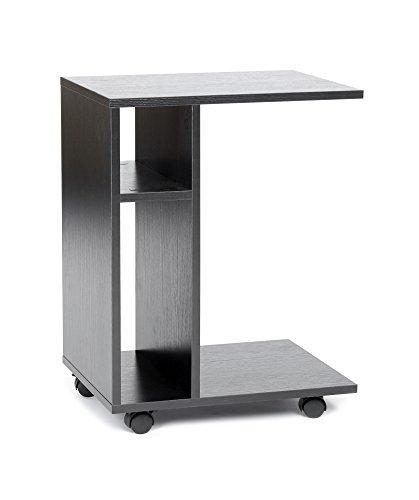 ts-ideen Tavolino da caffé Carrello Mobiletto in legno stile moderno con rotelle. Nero.