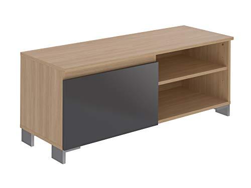 Movian, mobile TV con 1 sportello e 1 mensola, modello Baїse, 39,8 x 110 x 43,7 cm, colore grigio