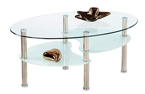 AVANTI TRENDSTORE - Willi - Tavolino da soggiorno in vetro con piedi in metallo, forma ovale con 2...