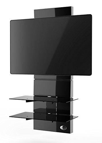 Meliconi Ghost Design 3000 Supporto per TV da 32' a 63' con Mensole in Vetro Temperato, Nero