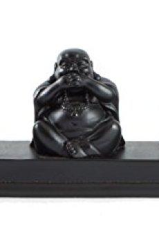 Carcasa Budas tres – tapones para los oídos Evil Speak No Evil ver sin – Figura decorativa con motivo navideño de Buddha sonriente en color negro efecto resina