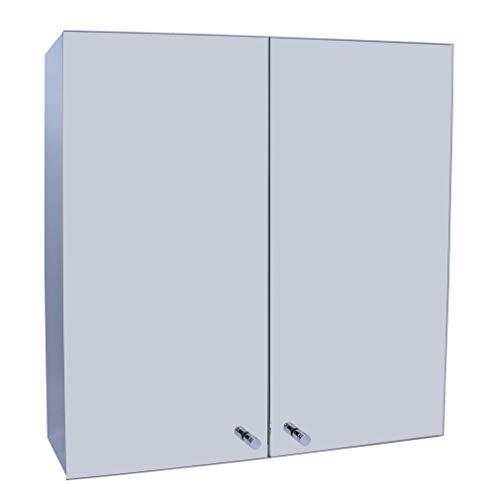 Plantex Platinum 304 Stainless Steel Bathroom Mirror Cabinet with Double Door/Bathroom Accessories (18 x 18 Inches)
