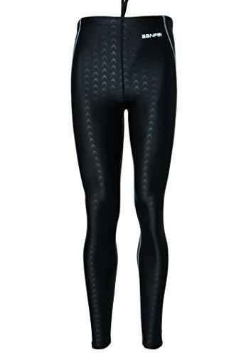 BANFEI Pantalones de Buceo Hombres Mujers Traje de Natación Bañador Deportivo Surf Snorkel EU XS Negro(línea gris)